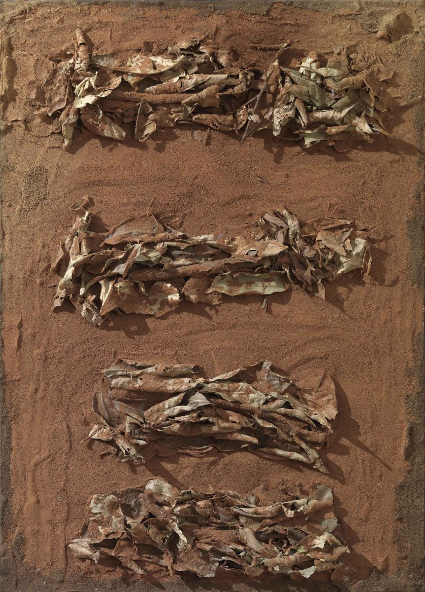 Mixed Media on canvas: Burned resins -earth-dry leaves- gold leaves- wood sticks and  melted candles. Dimensions 50X70
