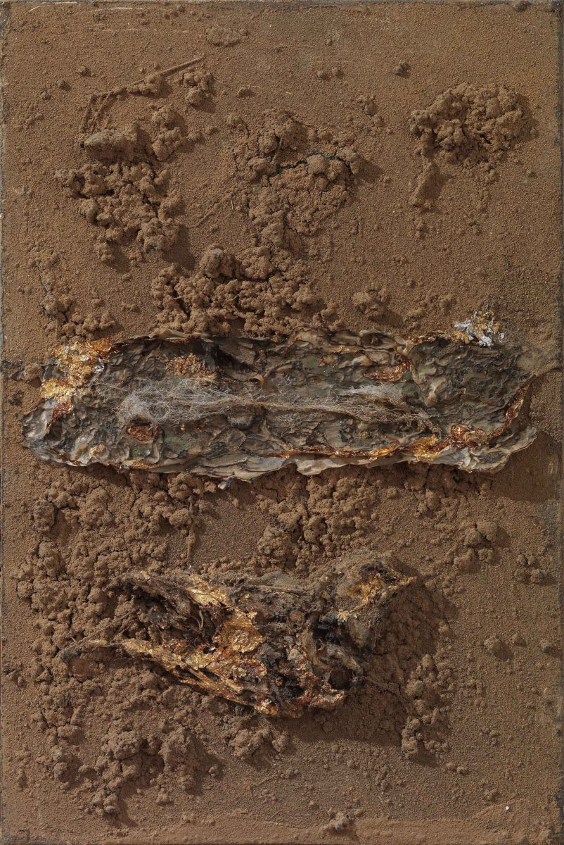 Mixed Media on canvas: Burned resins -earth-dry leaves- gold leaves- wood sticks and melted candles. Dimensions 40X45