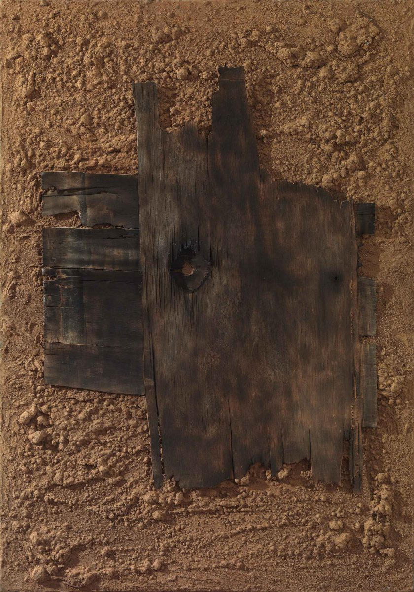 Mixed Media on canvas: Burned resins -earth- burned wood. Dimensions 70X100
