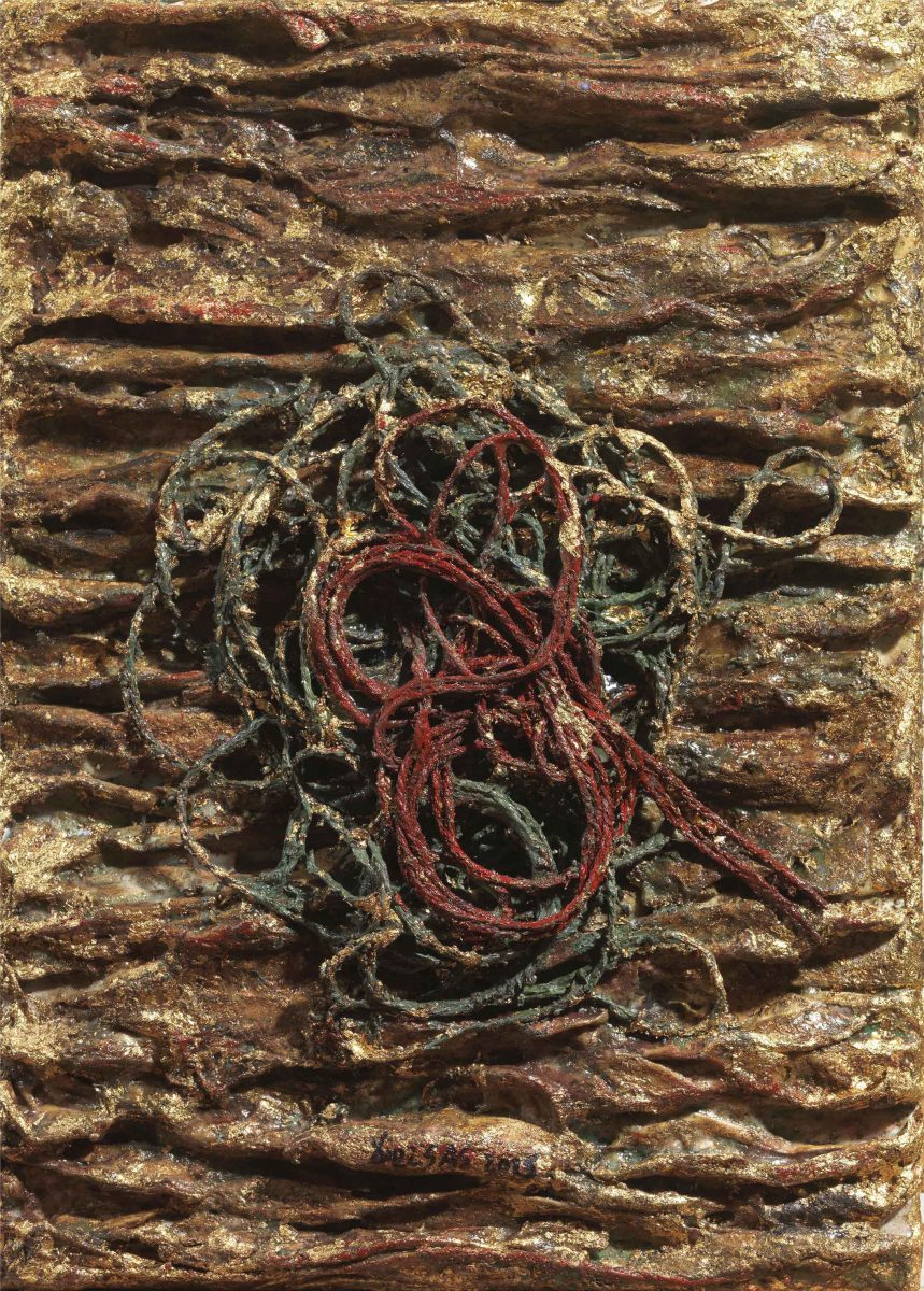 Mixed Media on canvas: Burned resins- gold - and rope. Dimensions 20X25.