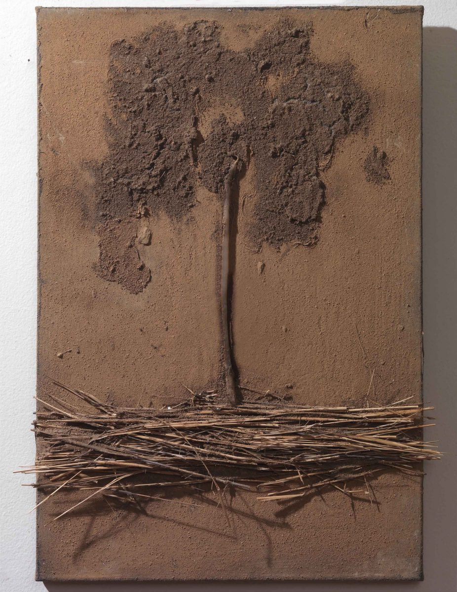Mixed Media on canvas: Burned resins -earth- wood sticks and melted candles. Dimensions 40X45