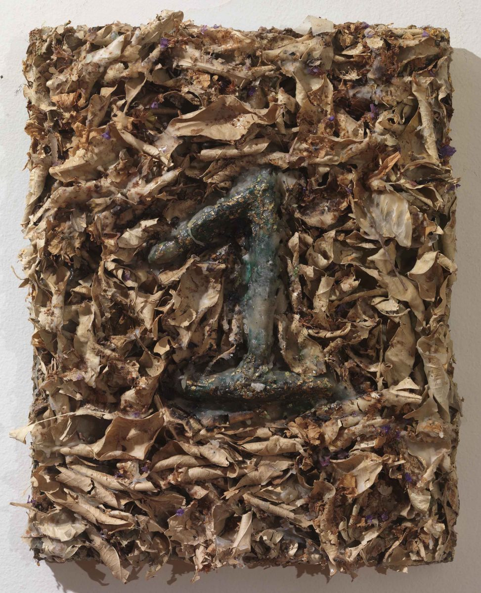 Mixed Media on canvas: Burned resins -earth-dry leaves- gold - wood sticks and melted candles. Dimensions 40X45