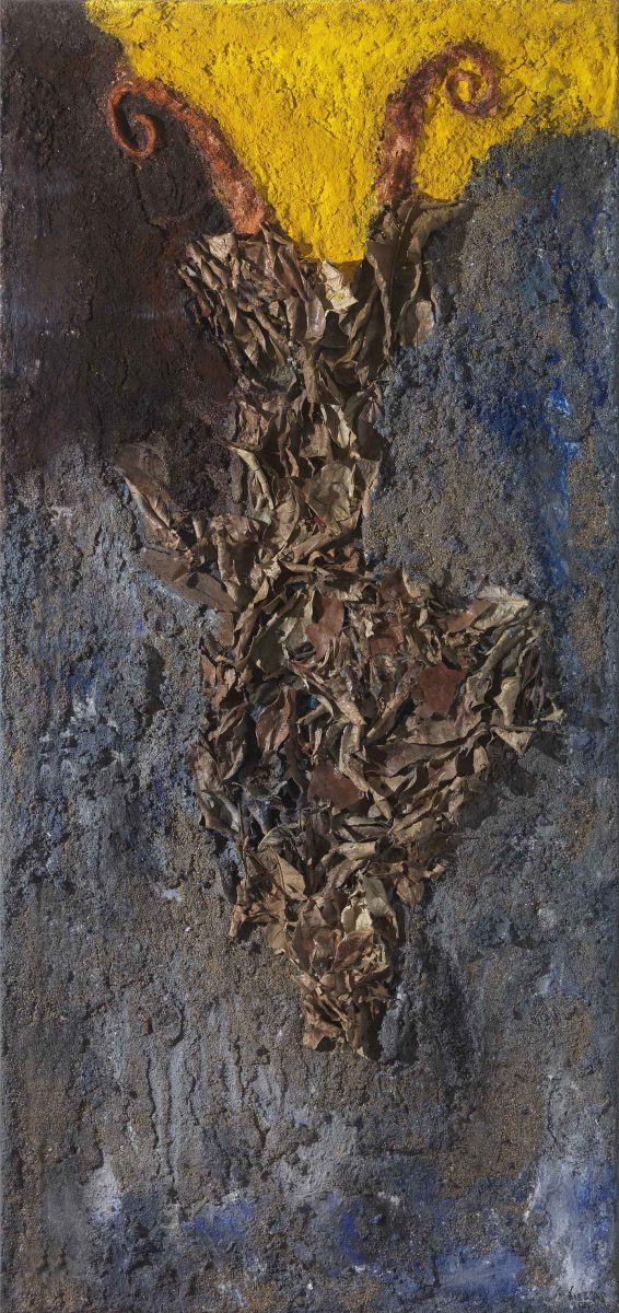 Mixed media on canvas.  Sand --earth -resins -ash -pigments. Dimensions 150X70