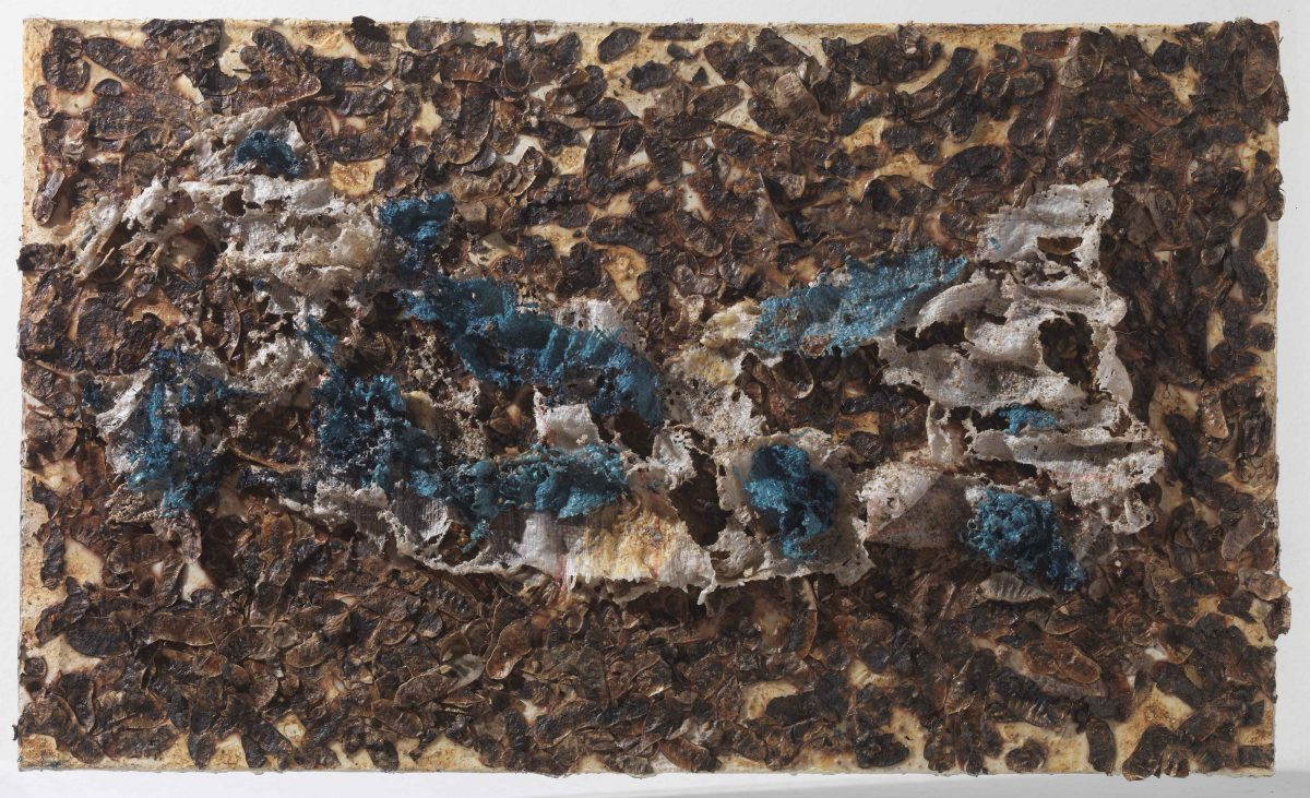 Mixed media on canvas:  Burned  materials  -textiles-  resins -  earth. Dimensions 70X42.