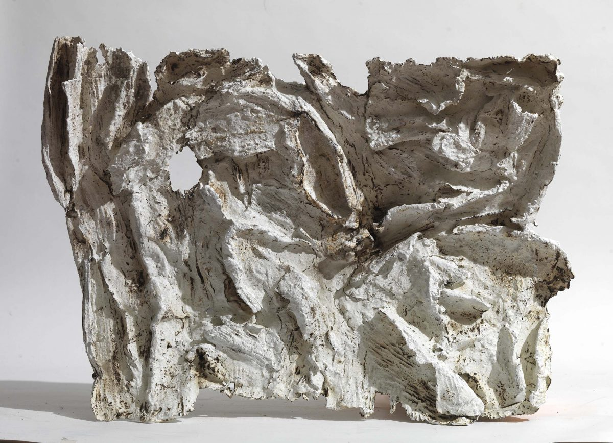 Mixed Media: burned  white cement -resins . Dimensions 55X45