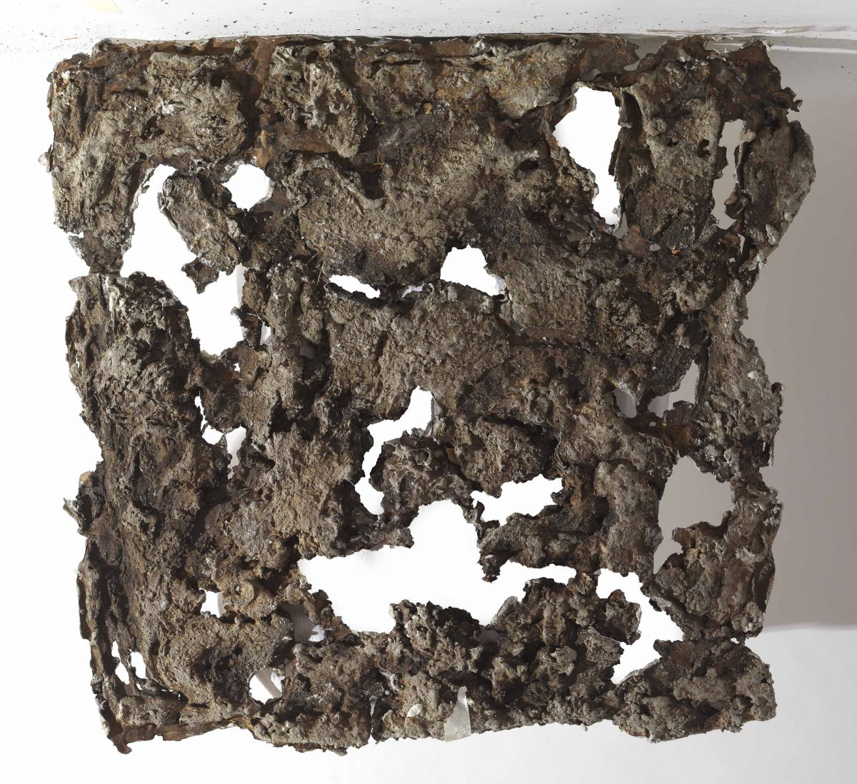 Mixed Media: burned  grey cement -resins. Dimensions 50X50