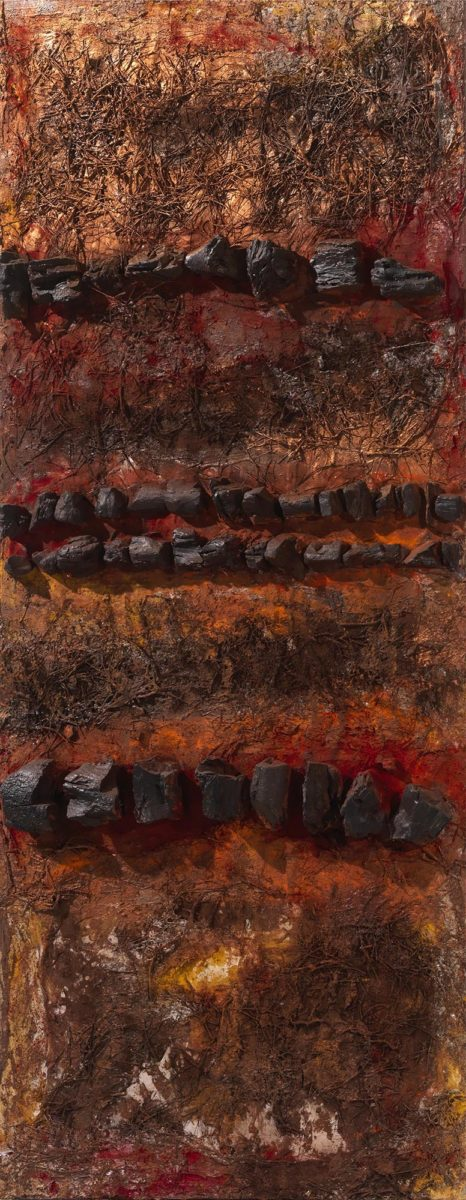 Mixed Media on wood. Charcoals -pigments and pineneedles. Dimensions:70X150